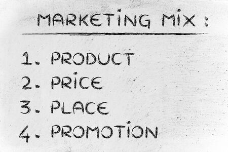 evidence bag: list of elements of the marketing mix: product, price, place, promotion