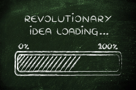 revolutionary: concept of coming up with a revolutionary idea, funny progress bar illustration