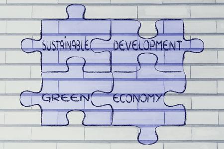 desarrollo sustentable: elementos de la ecología como piezas de rompecabezas: el desarrollo sostenible y la economía verde Foto de archivo