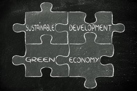 desarrollo sustentable: elementos de la ecolog�a como piezas de rompecabezas: el desarrollo sostenible y la econom�a verde Foto de archivo