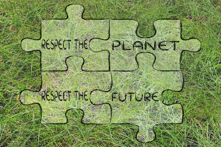 social behaviour: elements of ecology as pieces of puzzle: respect the planet, respect the future Stock Photo