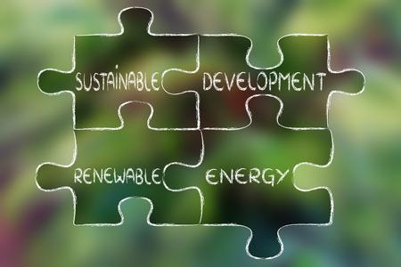 desarrollo sustentable: elementos de la economía verde como piezas de rompecabezas: el desarrollo sostenible y las energías renovables Foto de archivo