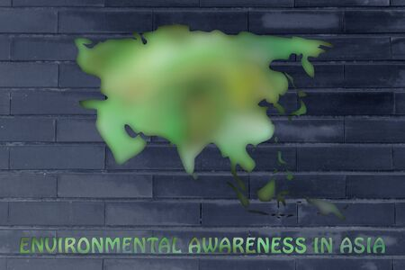 throughout: environmental awareness throughout the world: illustration with map of asia made of green leaves blur