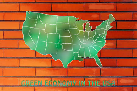 throughout: environmental awareness throughout the world: map of the usa made of green leaves blur