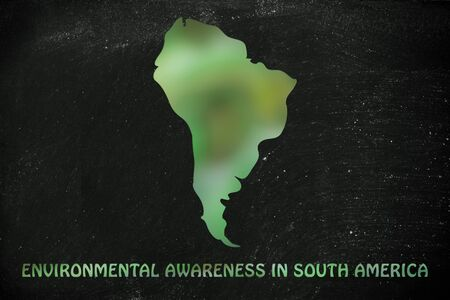 visions of america: environmental awareness: illustration with map of south america made of green leaves blur