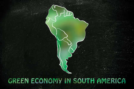environmental awareness: environmental awareness and green economy: illustration with map of south america made of green leaves blur
