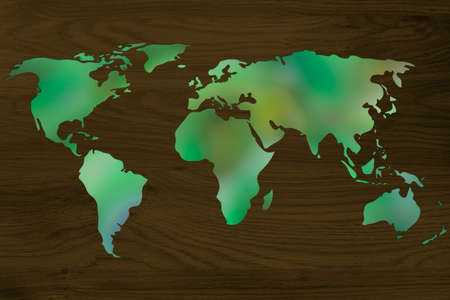 environmental awareness: environmental awareness and green economy: illustration with map of the world made of green leaves blur