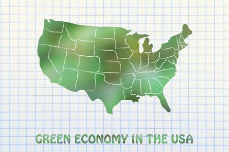 visions of america: environmental awareness throughout the world: map of the usa made of green leaves blur