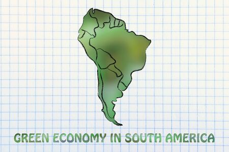 visions of america: environmental awareness and green economy: illustration with map of south america made of green leaves blur