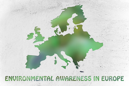 environmental awareness: environmental awareness throughout the world: illustration with map of europe made of green leaves blur