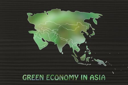 throughout: green economy throughout the world: illustration with map of asia made of green leaves blur