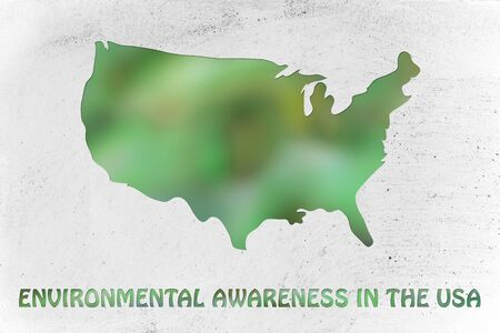 visions of america: environmental awareness and green economyy: illustration with map of the USA made of green leaves blur