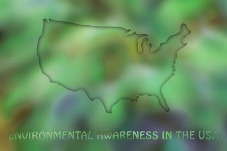 environmental awareness: environmental awareness and green economyy: illustration with map of the USA made of green leaves blur