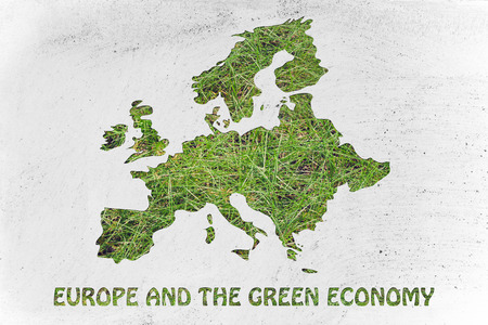 environmental awareness: environmental awareness throughout the world: illustration with map of europe made of grass Stock Photo