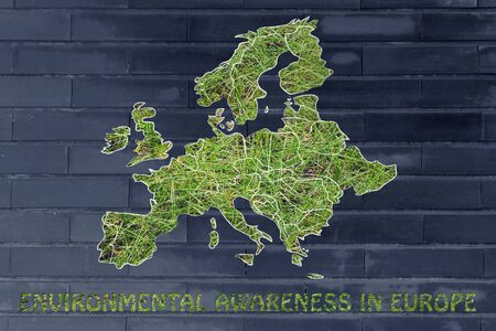 throughout: environmental awareness throughout the world: illustration with map of europe made of grass Stock Photo