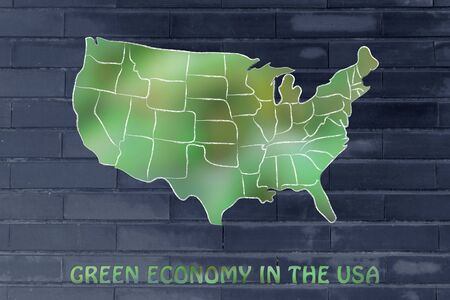 environmental awareness: environmental awareness throughout the world: map of the usa made of green leaves blur