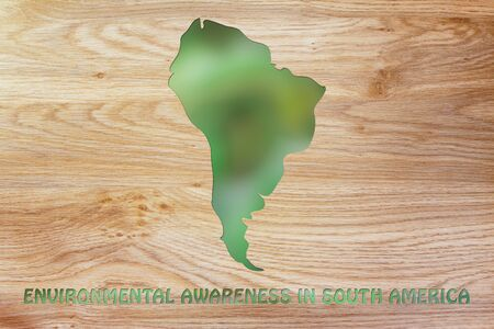 environmental awareness: environmental awareness: illustration with map of south america made of green leaves blur