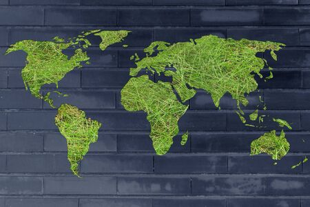 environmental awareness: environmental awareness and green economy: illustration with map of the world made of green grass