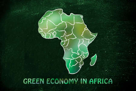 throughout: green economy throughout the world: illustration with map of africa made of green leaves blur