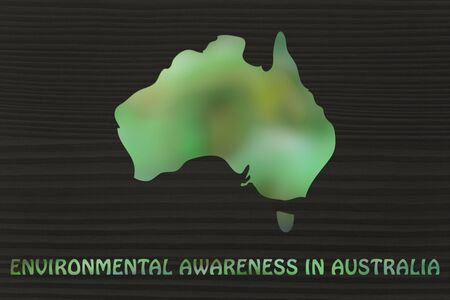 throughout: environmental awareness throughout the world: illustration with map of australia made of green leaves blur