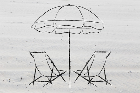 illustration with beach chairs and umbrella on sand background, concept of relaxing summer vacations