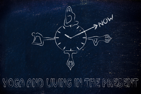 living moment: yoga and living in the present, yoga poses around a clock indicating to focus on the present moment