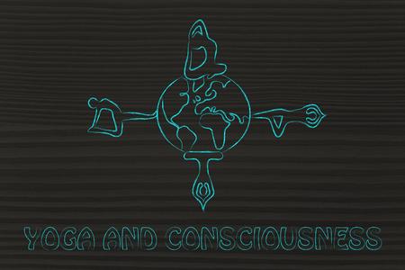 consciousness: yoga consciousness, illustration with poses around a world globe