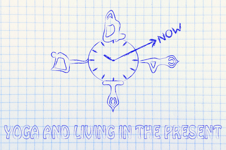body consciousness: yoga and living in the present, yoga poses around a clock indicating to focus on the present moment