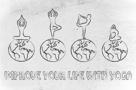body consciousness: yoga improves your life, illustration with yogis making poses above world globes