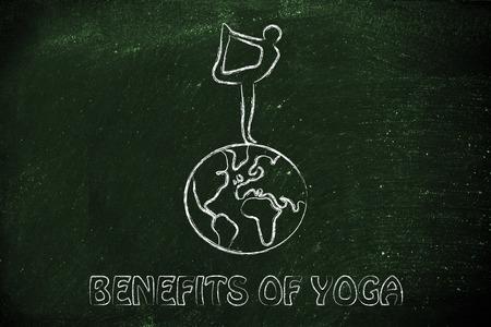 tonify: benefits of yoga: illustration yogi in dancers pose above the globe
