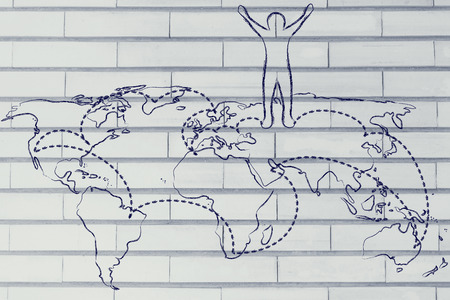 globetrotter: happy man standing on world map with travel itinerary