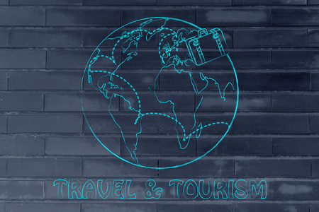 globetrotter: travel & tourism: luggage bag and air travel routes around the world