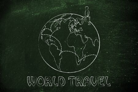 intended: world travel: globetrotting man with bag and intended travel paths Stock Photo