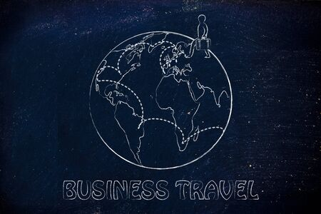 intended: tourism and travel: globetrotting man with bag and intended travel paths