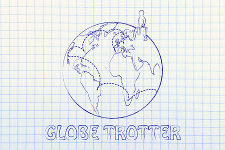 globetrotter: globetrotting: man with bag and intended travel paths