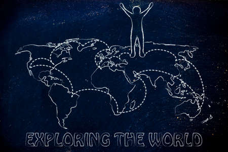 globetrotter: happy man standing on world map with travel itinerary, concept of exploring the world
