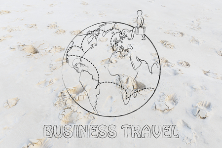 globetrotter: business travel: globetrotting man with bag and intended destinations