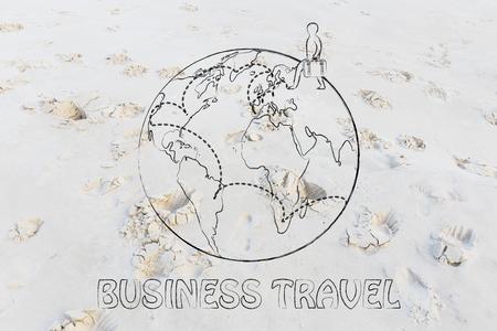 destinos: los viajes de negocios: trotamundos hombre con destinos bolsa y destinados Foto de archivo