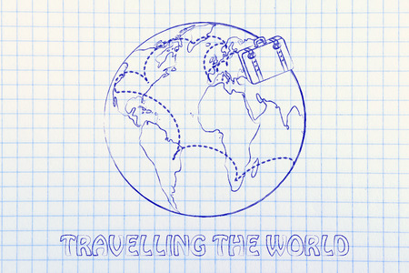 globetrotter: travelling the world: luggage bag and air travel routes around the world