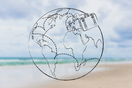 globetrotter: tourism and travel: bag and intended travel paths