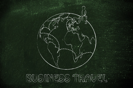 destinations: business travel: globetrotting man with bag and intended destinations