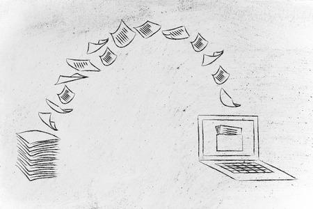 pile de feuilles étant transformé en données numériques, un ordinateur portable avec dossier sur l'écran Banque d'images