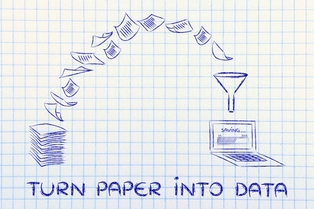 paperless: pile of sheets being turned into digital data, concept of paperless office