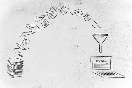 pile de feuilles étant transformé en données numériques (portables avec barre de progression), concept de bureau sans papier