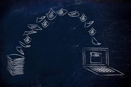 Pila de hojas que se convirtió en datos digitales, ordenador portátil con la carpeta en la pantalla Foto de archivo - 43044354