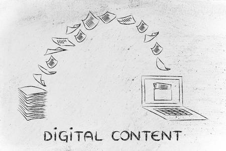 pile de feuilles étant transformé en données, concept de contenu numérique