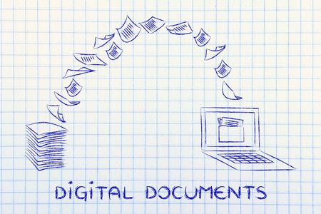 pile of documents: pile of sheets being turned into data, concept of digital documents Stock Photo
