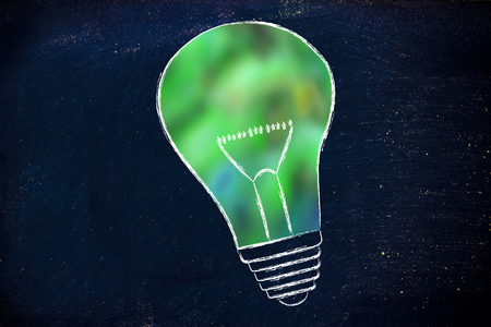 renewable energy, illustration of lightbulb with blurred green fill