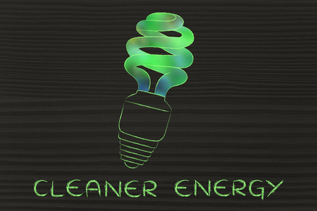 land management: ecological low consumption lightbulb with blurred green fill, concept of renewable energy