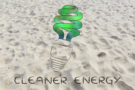 social behaviour: ecological low consumption lightbulb with blurred green fill, concept of renewable energy